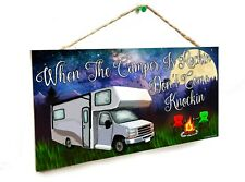 "Class C Night The Camper Is Rockin' Don't Knockin' Camping 5""x10"" Sign"