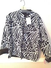 NEW! Reversible Jungle Animal Print to Solid Cotton Jacket Black White S/M -NWT!
