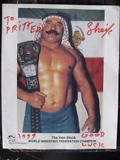 Iranian WWF Champion The Iron Sheik SIGNED Fan Photo Lion Sword Sun IRAN Flag