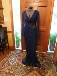 "STUNNING ""ADRIANNA PAPELL"" PURPLE JERSEY DRAPED AND RUCHED MOTHER/FORMAL GOWN S8"