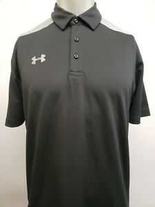 New Under Armour Men's HeatGear Two-Toned Polo, Black/Gray, S, L