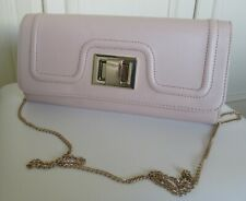 nude faux leather clutch/shoulder occasion/evening bag - gold tone fixings/chain