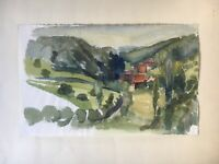 Old Watercolour Landscape With Houses South Germany 6 5/16x10 3/16in