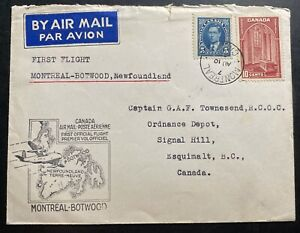 1939 Montreal Canada First Flight Airmail Cover FFC to Botwood Newfoundland