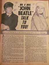 John and Cynthia Lennon, Beatles Annette Funicello, Full Page Vintage Clipping