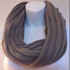 Solid gray infinity scarf classic ribbed knit snood loop