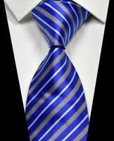 New Classic Stripe Blue Silver White 100% Silk Men's Necktie Neck Tie 3.15'' 8CM