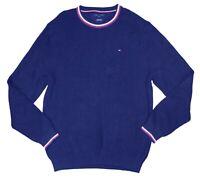 Tommy Hilfiger Mens Sweater Blue Size Large L Cable Knit Logo Crewneck $89 #402