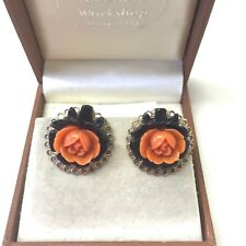 Vintage Jewellery Pretty 1950's Carved Faux Coral Rose Screw Back Earrings
