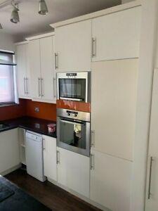 white kitchen, integrated appliances, granite worktop, units, Island