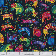 Laurel Burch Enchantment CAT TOSS BLACK Christmas Fabric By the FQ - 1/4 YD