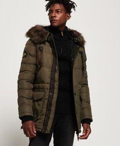 Superdry Mens Chinook Long Parka Khaki Green Jacket Black Fur Parka Quilted New