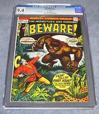 BEWARE #1 CGC 9.4 White pages from 1973 Marvel comics