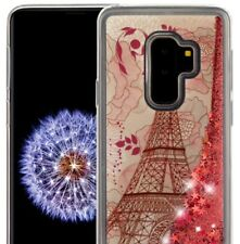 SAMSUNG GALAXY S9+ PLUS - TPU Case Water Liquid Pink Glitter Paris Eiffel Tower