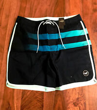 Hollister Men Beach Prep Shorts 34 Navy Blue Fading Striped Lace Up Mesh Line