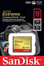 Tarjeta CF CompactFlash Sandisk 32gb Extreme 120mb/s para Sony DSLR A350 A200 A900