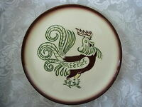 Vintage BROCK WARE Hd.Painted CALIFORNIA POTTERY Dk.Burgundy/Green Rooster Plate