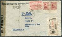 URUGUAY TO USA Registered Censored Cover 1943 VF