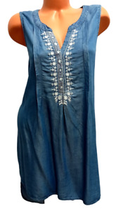 Knox rose blue denim look embroidered sleeveless high low tunic top XXL