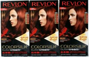 3 Revlon Colorsilk Buttercream Vivid Hair Color 49RC Deep Copper Red All In One