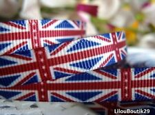 Lot de 5 mètres Ruban gros grain drapeau anglais UK 10 mm