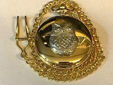 Owl TG116 Pewter on a Gold Pocket Watch Quartz fob