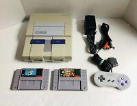 SNES Super Nintendo Console Bundle, Tested, w/ super mario world & Donkey Kong