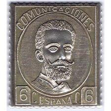 SILVER STAMP SPAIN ESPAÑA EDIFIL 119 SELLO PLATA 6 CENTIMOS COMUNICACIONES 1872
