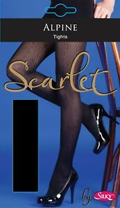 Quality Tights UK Black Alpine Pattern Opaque Winter Warmers NEW