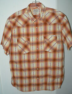 Men's Lucky Brand Sportswear SZ X-Large Orange Plaid Snap Front S/S Cotton Shirt
