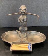 RARE 19TH C. E.G. ZIMMERMANN HANAU GERMANY METAL DOG MATCH STRIKER SMOKING STAND