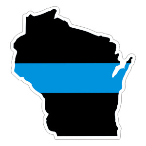 Wisconsin WI State Thin Blue Line Police Sticker / Decal #224 Made in U.S.A.