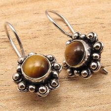 925 Silver Plated Original Brown TIGER'S EYE Gemstone ETHNIC Earrings