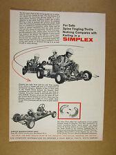 1960 Simplex Challenger Go-Kart racing illustration art vintage print Ad