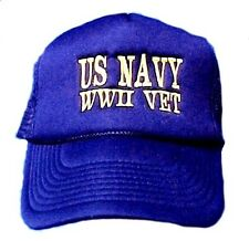 US Navy WWII Veteran Baseball Cap Hat Embroidered Gold Lettering New