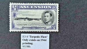 ASCENSION George VI KGVI SG38bb TORPEDO FLAW - Variety  1944 VLMM 1938 Vibrant