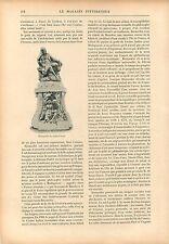 Statue de Bernardin de Saint-Pierre Jardin des Plantes Paris GRAVURE PRINT 1908