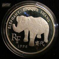 FRANCE, 10 FRANCS - 1,5 EUROS 1996, SHANG DINASTY ELEPHANT, SILVER, PROOF.