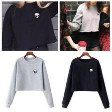 Hoodie Fleece Long Sleeves Sweater T-shirt Crop Top OutwearAlien Head Printed