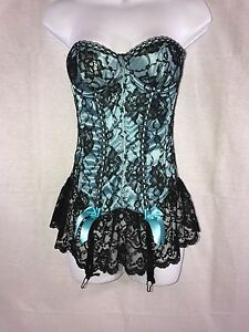 EUC Frederick's of Hollywood Sexy Corset Sz 34 Lt. Blue & Black lace Style 1000F