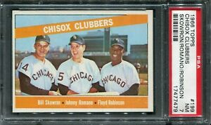 1966 Topps #199 Chisox Clubbers! Skowron/Romano/Robinson PSA 7 NM