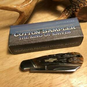 "Rough Rider Brown Stag Bone Small Cotton Sampler 3"" Pocket Knife  RR1833"