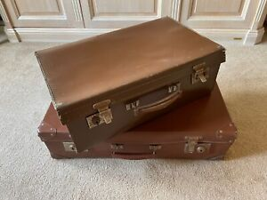 Two 1930s Vintage Faux leather suitcases