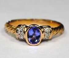 14K Rose Gold Rope Design AA Oval Tanzanite And White Diamond Ring Size 7 .52ct