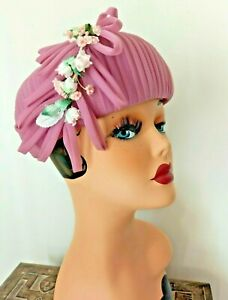 Unusual Dainty Vintage Hat Cocktail Pink with Flowers c. 1960