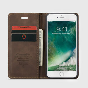 Apple iPhone Leather Flip Wallet Phone Case (Coffee)
