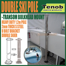 Tenob Double Water Ski Pole, Wake Board U bracket Stainless Steel Bulkhead Mount