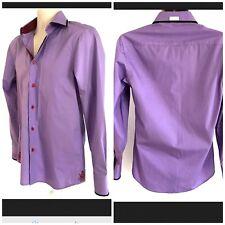COOGI LUXE LS Button Front Dress Shirt Small Purple Contrast Collar Flip Cuffs
