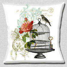 "FRENCH SHABBY CHIC VINTAGE BIRD CAGE ROSES WHITE POST 16"" Pillow Cushion Cover"