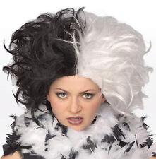 Ms. Spot Wig Cruella Deville Costume Dalmations Villian Halloween Accessory